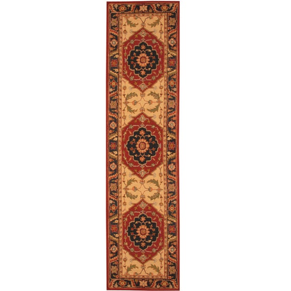 Herat Oriental Asian Hand-tufted Heriz Wool Runner (2'8 x 10')