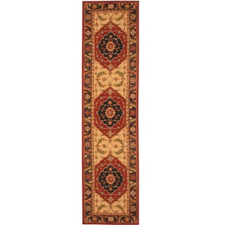 Herat Oriental Asian Hand-tufted Rust/ Navy Heriz Wool Rug (2'8 x 10')