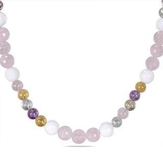 Miadora Multi-colored Quartz and White Jasper Endless Fashion Necklace