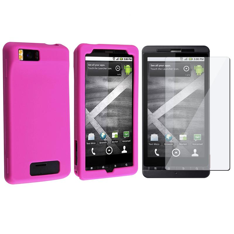 INSTEN Hot Pink Soft Silicone Phone Case Cover/ Screen Protector for Motorola Droid X
