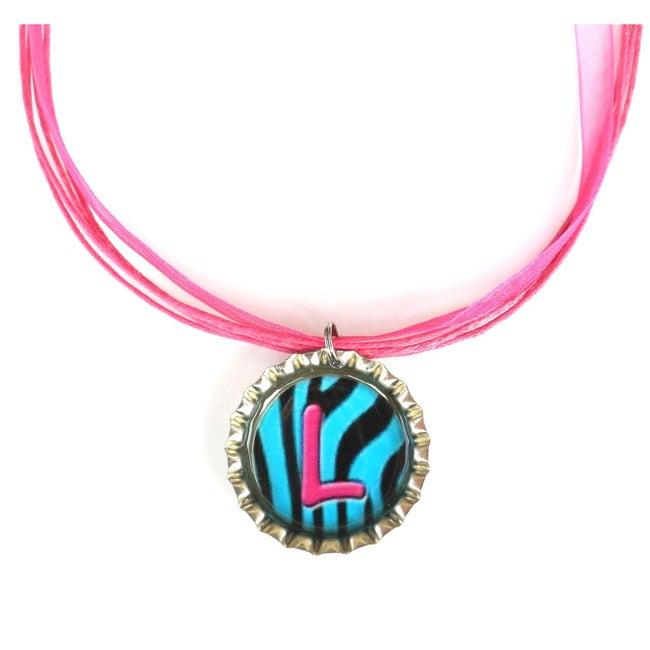Steel Turquoise Zebra Monogram Bottle Cap Necklace