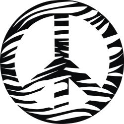 Vinyl Attraction 'Zebra Print Peace Sign' Vinyl Wall Decal