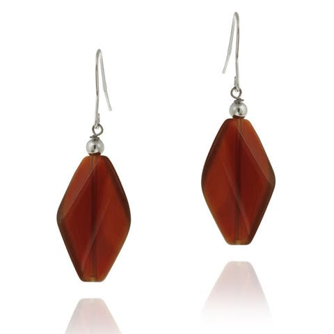 Glitzy Rocks Sterling Silver Carnelian Dangle Earrings