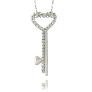 Finesque Silvertone Diamond Accent Heart Key Necklace