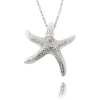 Finesque Silvertone Diamond Accent Starfish Necklace