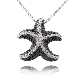 Finesque Black and Silvertone Diamond Accent Starfish Necklace