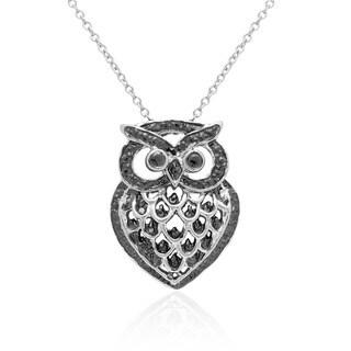 Finesque Black and Silvertone Diamond Accent Owl Necklace