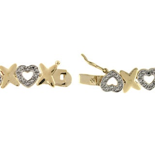 Finesque 14k Gold Overlay Diamond Accent 'X' and Heart Bracelet with Red Bow Gift Box