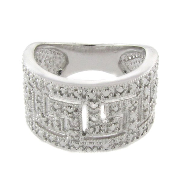 Finesque Silvertone Diamond Accent Greek Key Design Ring