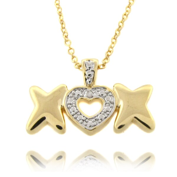 Finesque 14k Gold Overlay Diamond Accent Heart and 'X' Necklace