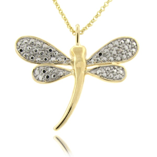 Finesque 14k Gold Overlay Diamond Accent Dragonfly Necklace