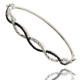 Finesque Black and Silvertone Diamond Accent Infinity Bangle Bracelet (Option: 8.25 Inch) https://ak1.ostkcdn.com/images/products/6081406/P13752627.jpg?impolicy=medium