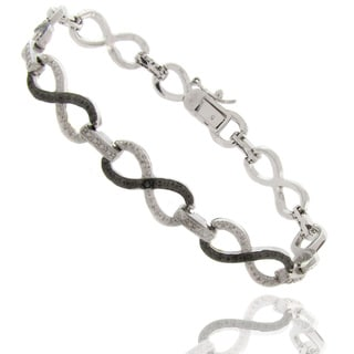 Finesque Silverplated Black and White Diamond Accent Infinity Bracelet