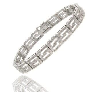 Finesque Silvertone Diamond Accent Greek Key Bracelet