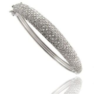 Finesque Silvertone Diamond Accent Bangle Bracelet