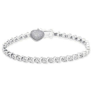 Finesque 14k Gold Overlay Diamond Accent Heart Charm Bracelet (2 options available)