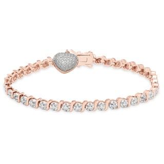 Finesque 14k Gold Overlay Diamond Accent Heart Charm Bracelet
