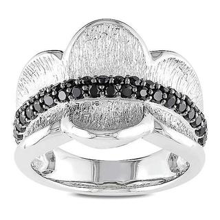 Miadora Sterling Silver Round Black Spinel Fashion Ring