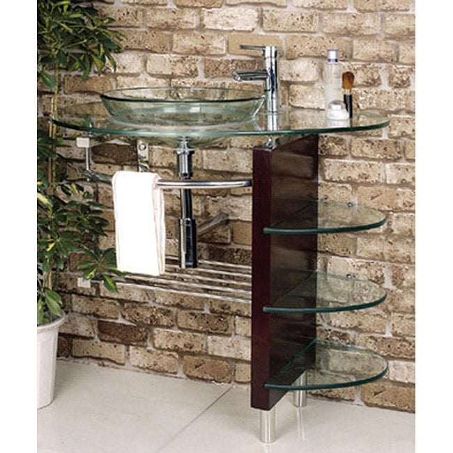 Kokols Wall-mount Bathroom Glass Vessel Sink Vanity Combo