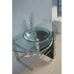 Kokols Wall-mount Bathroom Glass Vessel Sink Vanity Combo - Thumbnail 2