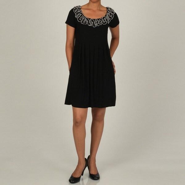Robbie Bee Women's Black Embellished Knit Dress