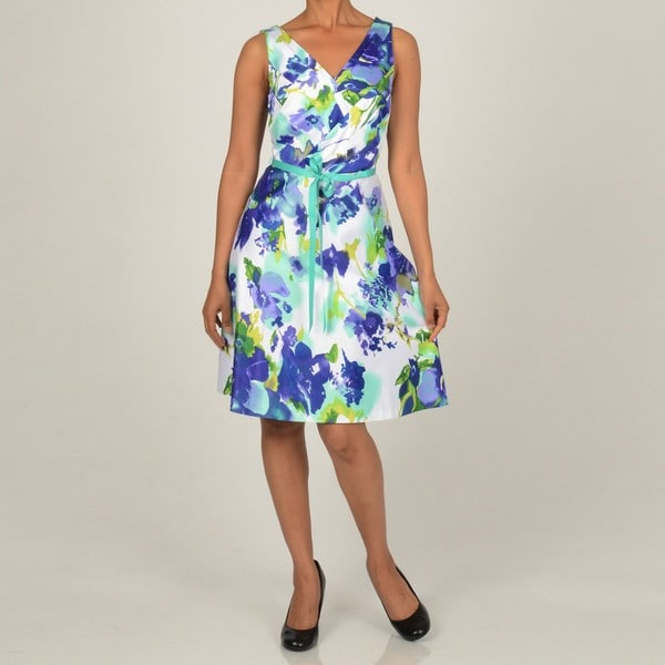 Robbie Bee Women S Floral Printed Shantung Pleated Party