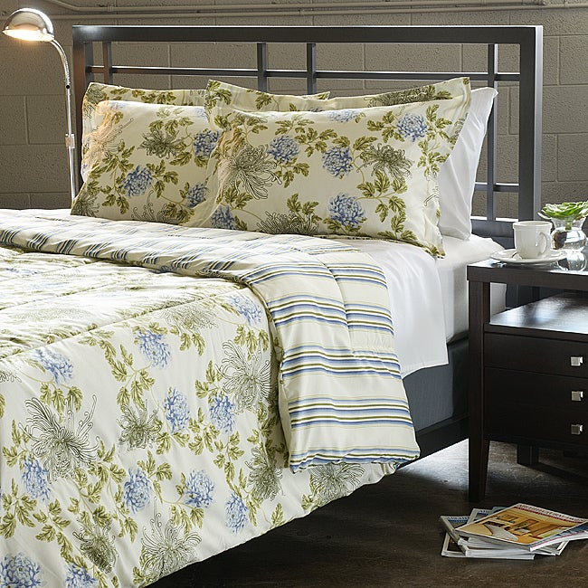 shop water flower ivory full queen size 3 piece comforter set free shipping today overstock. Black Bedroom Furniture Sets. Home Design Ideas