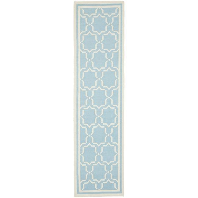 safavieh moroccan light blueivory reversible dhurrie wool runner rug 2u0026x27
