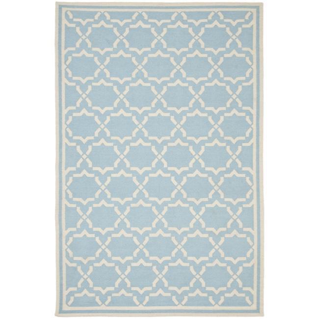 Safavieh Hand Woven Moroccan Reversible Dhurrie Light Blue Ivory Wool Rug 3