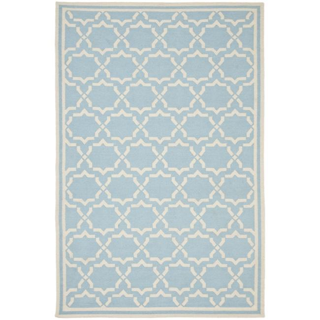Safavieh Moroccan Light Blue Ivory Reversible Dhurrie Wool Area Rug 6 X27