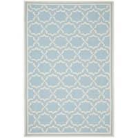 Safavieh Moroccan Light Blue/Ivory Reversible Dhurrie Wool Area Rug - 6' x 9'