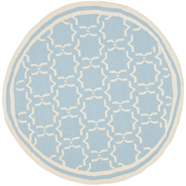 Safavieh Transitional Moroccan Light Blue/Ivory Reversible Dhurrie Wool Rug (6' Round)