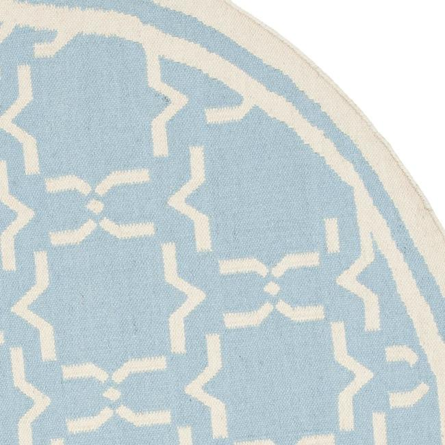Safavieh Transitional Moroccan Light Blue/Ivory Reversible Dhurrie Wool Rug (6' Round) - Thumbnail 1