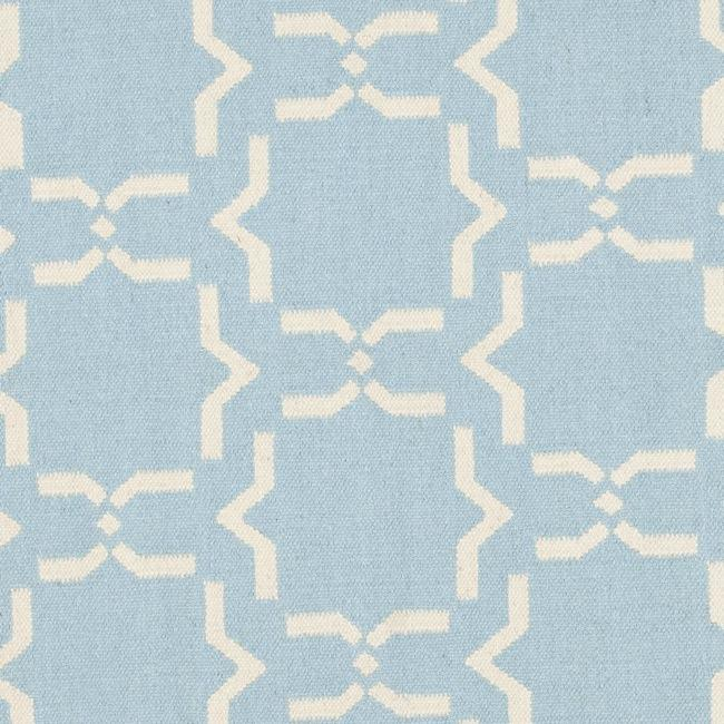 Safavieh Transitional Moroccan Light Blue/Ivory Reversible Dhurrie Wool Rug (6' Round) - Thumbnail 2