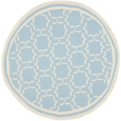 Safavieh Transitional Moroccan Light Blue/Ivory Reversible Dhurrie Wool Rug - 6' x 6' Round - Thumbnail 0