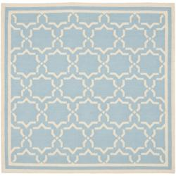 Safavieh Moroccan Transitional Light Blue/Ivory Reversible Dhurrie Wool Rug (6' Square)