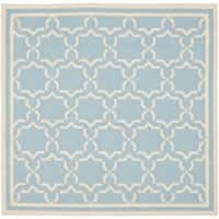 Safavieh Moroccan Transitional Light Blue/Ivory Reversible Dhurrie Wool Rug - 6' x 6' Square