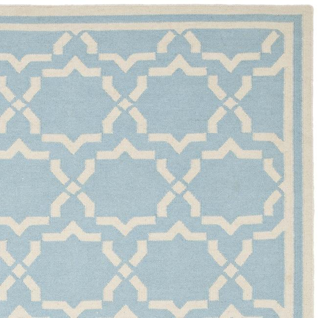 Safavieh Moroccan Light Blue/Ivory Reversible Dhurrie Wool Rug (8' x 10') - Thumbnail 1