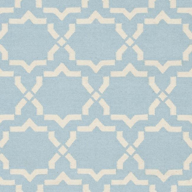 Safavieh Moroccan Light Blue/Ivory Reversible Dhurrie Wool Rug (8' x 10') - Thumbnail 2