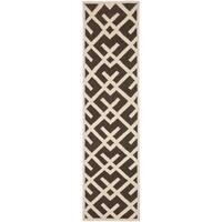 """Safavieh Hand-woven Dhurrie Flatweave Brown/ Ivory Wool Rug - 2'6"""" x 10'"""