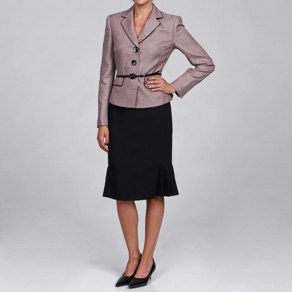 Evan Picone Women's Blush Belted Skirt Suit