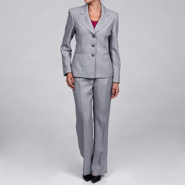 Shop Evan Picone Women S Silver 3 Button Pant Suit Free Shipping