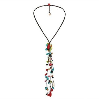 Handmade Cotton Long Dangle Cluster Multi-gemstone Necklace (Thailand)