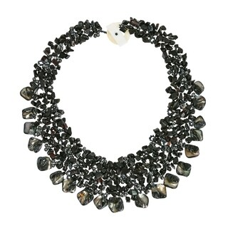 Handmade Black Onyx and Sea Shells Cluster Toggle Necklace (Philippines)