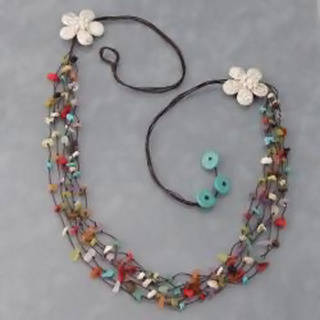 Handmade Cotton Long Double White Flowers Multi-gemstone Necklace (Thailand)