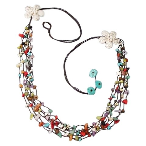 Handmade Long Double White Flowers Mix Stone Long Necklace (Thailand)