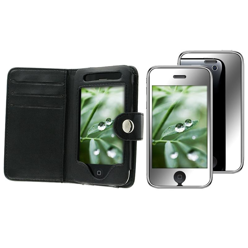 INSTEN Leather Phone Case Cover/ Mirror Screen Protector for Apple iPhone 3GS