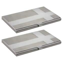 Zodaca Cross Brushed-silver Business Card Holder Phone Case Cover (Pack of Two)|https://ak1.ostkcdn.com/images/products/6081959/76/469/Cross-Brushed-silver-Business-Card-Holder-Case-Pack-of-Two-P13753094.jpg?impolicy=medium