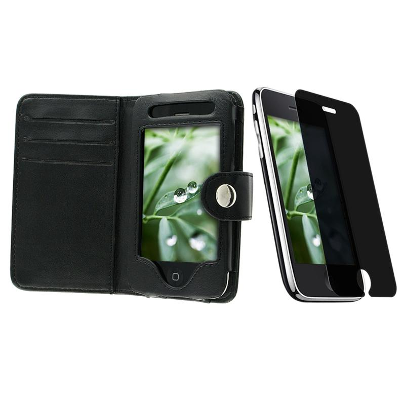 Leather Case/ Privacy Screen Protector for Apple iPhone 3GS
