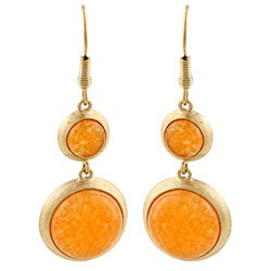 Rivka Friedman Gold Overlay Orange Quartzite Dangle Earrings